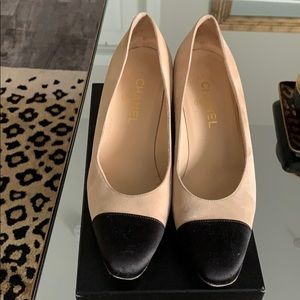 Chanel satin cap toe suede stack heel pumps
